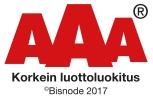 AAA Korkein luottoluokitus Bisnode 2017