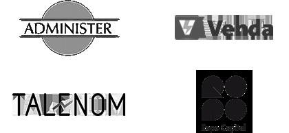 Logot: Administer, Venda, Talenom ja Ropo Capital